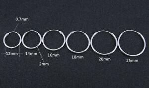 Sterling Silber 925 Creolen einzeln oder als Paar Ø 10 mm - 60 mm 2 mm stark