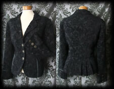 Gothic Black Velvet Damask MILITARY Button Jacket Coat 14 16 Victorian Steampunk