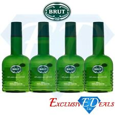 Brut Original Fragrance Splash On Body Lotion Fresher Feel - 4 x 200ml Bottle