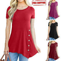 Summer Womens Short Sleeve Casual Baggy Tunic Tops T Shirt Button Loose Blouse