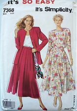 Simplicity 7368 MISSES Jacket & Skirt Sewing Pattern in sizes 8-20
