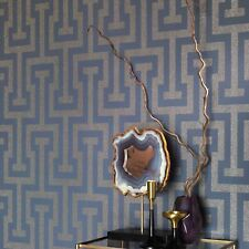 Rasch Greek Key Blue & Soft Gold Sparkling Glitter Geometric Wallpaper 523928