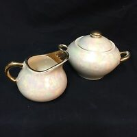 VTG Lustreware Creamer Sugar Bowl Lid Set Pearlized Cream Iridescent Gold Trim