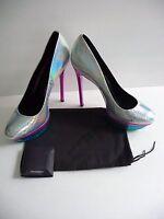 B Brian Atwood BFFontanne NIB Hologram Silver Colorful Platform Pumps Heels $425
