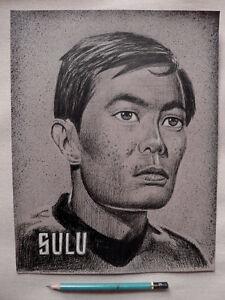"Original Art: Drawing of Sulu from Star Trek - pen/ink on paper 9"" x 12"""