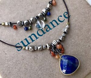 NEW $158 Sundance Lapis Leather Carnelian  14k Gold GP Thai Silver Necklace NWT