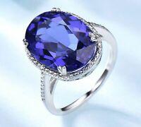 Luxus Tansanit Edelstein Ring Echt Silber 925 Silberring Damenring Geschenk Neu.