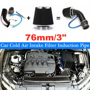 Universal Car Cold Air Intake Filter Induction Pipe Power Flow Hose System Alloy