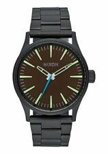 Nixon Men's A450712 Sentry 38 SS Black Steel Brown Dial Watch A450-712-00