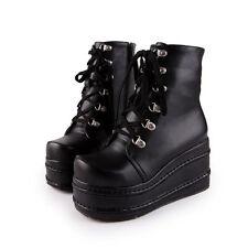 Women's Punk Boots High Platform Flat Lace up Gothic Slouch Combat Boots