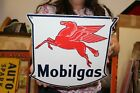 Original Vintage 1956 Mobilgas Gas Station Pump Plate Porcelain Metal Sign