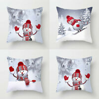 "Pillow Case Cushion Cover Covers 3D 18x18"" Snowman Home Decor Christmas Sofa"