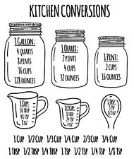Kitchen Measuring Conversion Chart Decal Baking Spoons Cooking Cups Vinyl Decal