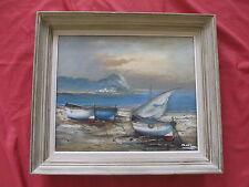 """Belle marine 1960 """" les barques sur la plage """""""