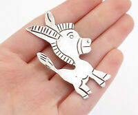 MEXICO 925 Sterling Silver - Vintage Antique Etched Donkey Brooch Pin - BP6209