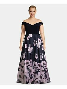 XSCAPE Womens Navy Floral Sleeveless Maxi Fit + Flare Prom Dress Plus Size: 20W