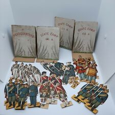 Antique McLaughlin Paper Doll Soldiers Lot w/ Tents Victorian Era Military toy