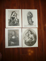 LOT oF 4 Perry Pictures MONA  Various Vintage 1930s Art Prints 10 x 12 READ