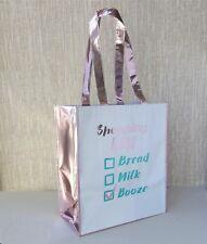 Metallic Rose Gold Shopping List Bag Booze Shopper Tote Beach Silver Pink