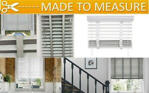 MADE TO MEASURE FAUX WOOD VENETIAN WOODEN WINDOW BLINDS 50 MM SLATS WITH TAPE