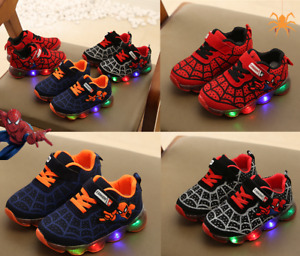 UK Children Boys&Girls Spiderman LED Trainers Kids Flashing Light Up Sneakers
