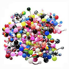 14G Belly Ring Assorted Lot of 100 Belly Button Rings Navel Banana Piercing LW