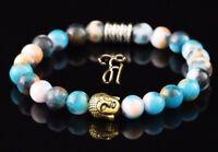 Jade blau bunt Armband Bracelet Perlenarmband Buddhakopf gold 8mm