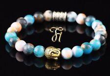 Jade blau bunt Armband Bracelet Perlenarmband Buddhakopf gold