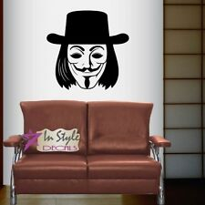 Vinyl Decal Guy Fawkes Mask with Hat Anonymous Any Room Wall Sticker 500