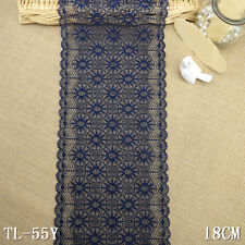 """1 Yard Navy Scalloped Stretch Lace Trim For DIY Craft Lingerie Wide 6 5/8"""""""