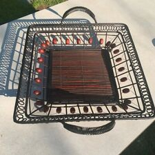 Decorative Bamboo Rattan Basket Beaded Metal Handles Funky Serving Tray Pier1