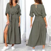 Fashion Women Long Sleeve V Neck Split Dress Ladies Casual Loose Maxi Dresses