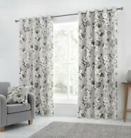 "Fusion ""Charity"" Floral Ready Made 100% Cotton Fully Lined Eyelet Curtains Grey"