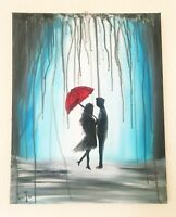 "Original Artwork Abstract Couple in the Rain Painting 20""x16"""
