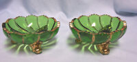 BERRY BOWLS Pair Duncan Antique Footed Green Beaded Swirl Bowls with Gilt Edges