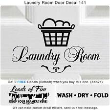 Laundry Room Wash Dry Fold Door Wall Vinyl Quote Sticker Decor Art Decal S141