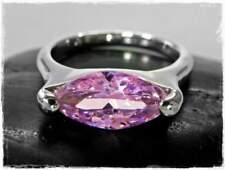 Neu 19mm/60 RING mit ZIRKONIA STEIN in rosa DAMENRING FINGERRING Farbe silber