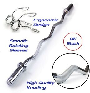 """Olympic EZ Curl Bar 4ft Home Weight Lifting Barbell With Spring Collars 2"""" E-Z"""