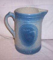 """Vintage 8 1/4 """" Salt Glaze Blue White Stoneware Cows OXEN STEER CATTLE Pitcher"""