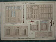 1900 architectural print ~ building construction encadrée partitions henry adams