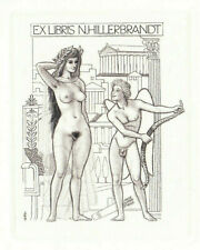 Mark F SEVERIN 1906-1987 Exlibris Nude Eros & Aphrodite Copper Engraving C2 #348