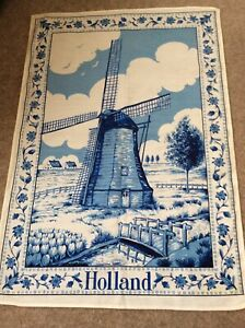 Cotton Blue & White Windmill Design Tea Towel, Holland Never Used