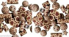 Lot of 36 Poly Fimo CLAY Bead Mix ~ Brown Giraffe Pattern ~COOL Animal Print