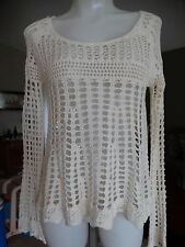 FREE PEOPLE ANNABELLE CROCHET PULLOVER XS