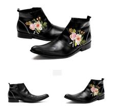 Men's Genuine Leather Zip Wedding Floral Business Pointy Toe Casual Ankle Boots