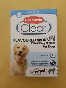 Bob Martin Clear Flavoured Wormer For Dogs  Up 40 Kg 4 Tablets