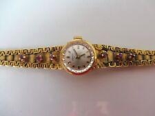 schöne,alte Armbanduhr__835 Silber vergoldet_mit Steinen__Anker__Handaufzug___ !