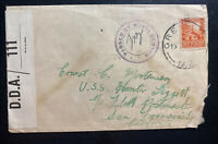 1943 Auckland New Zealand Censored Cover To USS Hunter Liggett San Francisco Usa