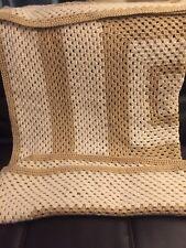 Afghan Crocheted Handmade Stripe Blanket Throw 60x60 Cream and beige
