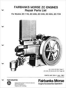Fairbanks Morse Repair Parts List for Engines ZC-118 ZC-208 ZC-346 ZC-503 ZC-739